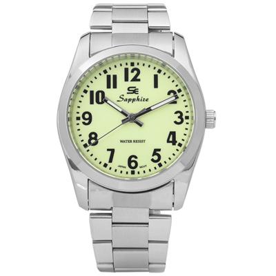 Sapphire 簡潔大方夜光藍寶石水晶不鏽鋼手錶-淺綠色/35mm