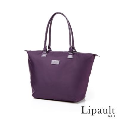 法國時尚Lipault肩背手提兩用托特包-M羅蘭紫