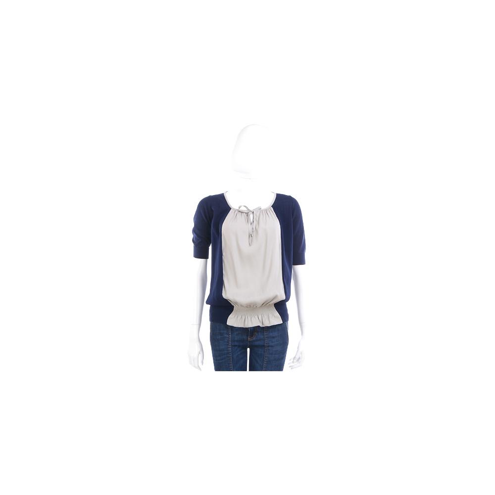 FABIANA FILIPPI 藍x灰色拼接設計五分袖上衣