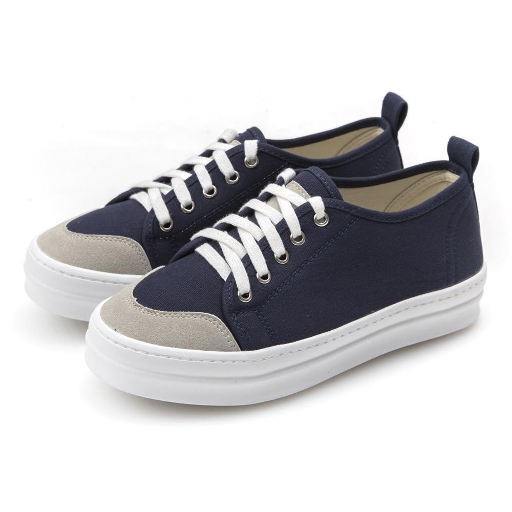 JMS-經典韓版款綁帶厚底帆布休閒鞋-藍色