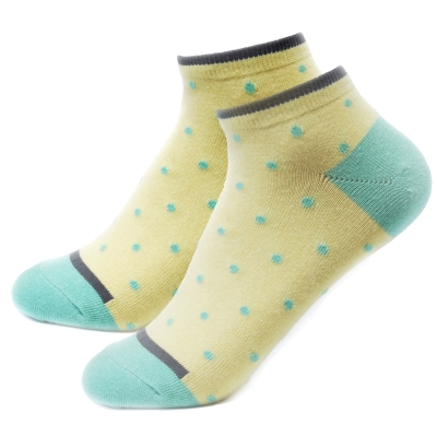 TiNyHouSe 舒適襪系列 乾爽透氣超短襪 黃色綠點M號2雙組