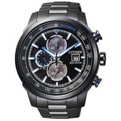 CITIZEN Eco-Drive光動能競速計時腕錶(CA0576-59E)-黑/45mm