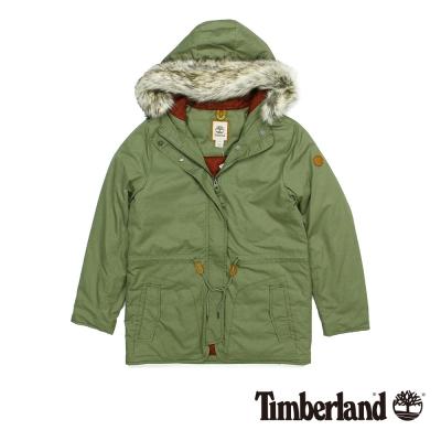 Timberland-女款橄欖綠色素面鋪棉皮草連帽