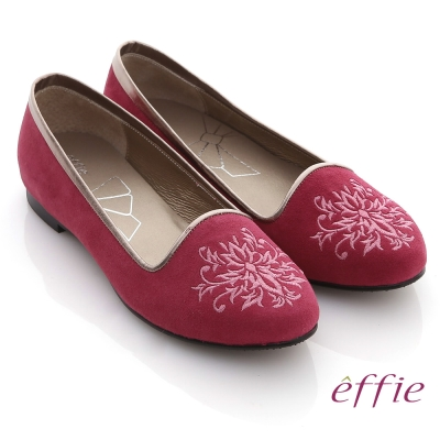 effie 舒適樂福 絨面羊皮刺繡圖紋平底鞋 桃粉