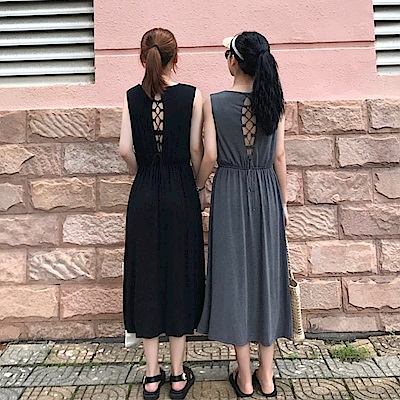 La Belleza露背穿繩交叉繫帶棉質縮腰背心洋裝