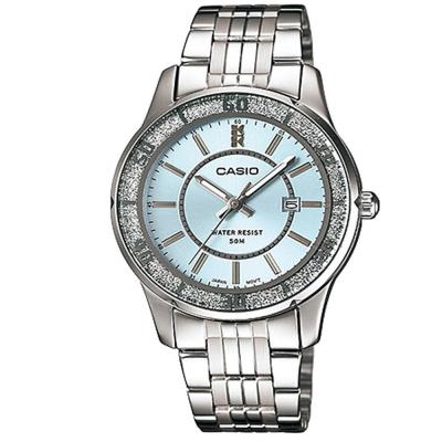 CASIO 簡約風采閃亮時尚日曆指針腕錶-水藍色/34mm