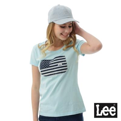 Lee 國旗大口袋短袖圓領TEE/RG-女款-藍