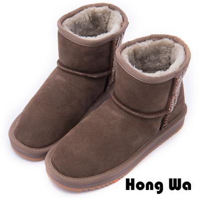 2.Maa - 日系風格牛麂皮編織毛紋雪靴 - 棕