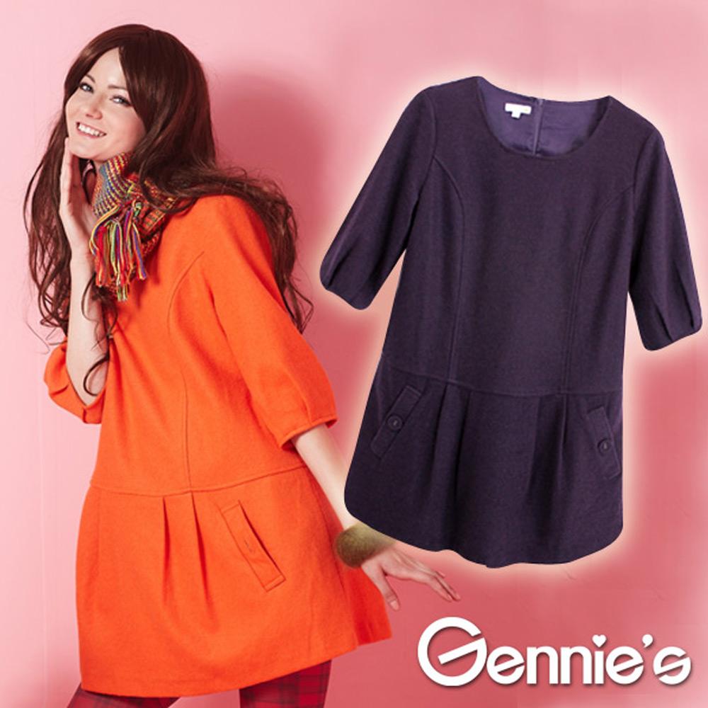 Gennies奇妮-假兩件氣質羊毛秋冬孕婦長版上衣(G3231)-紫
