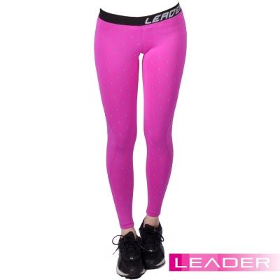 Leader 女性專用 DotFit運動壓縮緊身褲 (紫底大點)