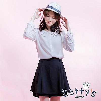 betty's貝蒂思 口袋電繡betty's壓摺褲裙(黑色)