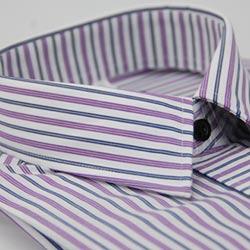 金‧安德森 白底粉紫藍條紋變化門襟窄版長袖襯衫