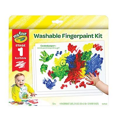 美國 Crayola繪兒樂 幼兒可水洗手指畫顏料4色組-紅黃藍綠(12M+)