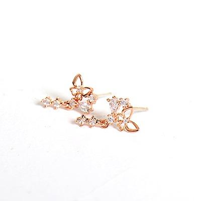 微醺禮物 正韓 925銀針 鍍K金 鋯石 鏤空蝴蝶 小垂墜 三顆小鋯石 耳針 耳環