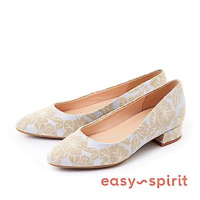Easy Spirit--經典素色尖頭低跟鞋-迷人花布