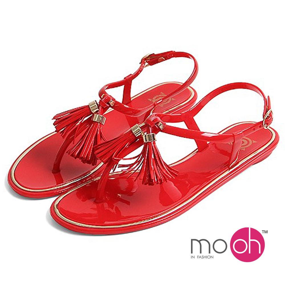 mo.oh-流蘇香味果凍防水夾腳涼鞋-紅