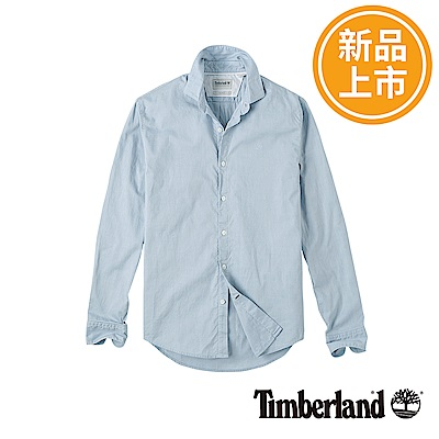 Timberland 男款藍色修身版牛津長袖襯衫