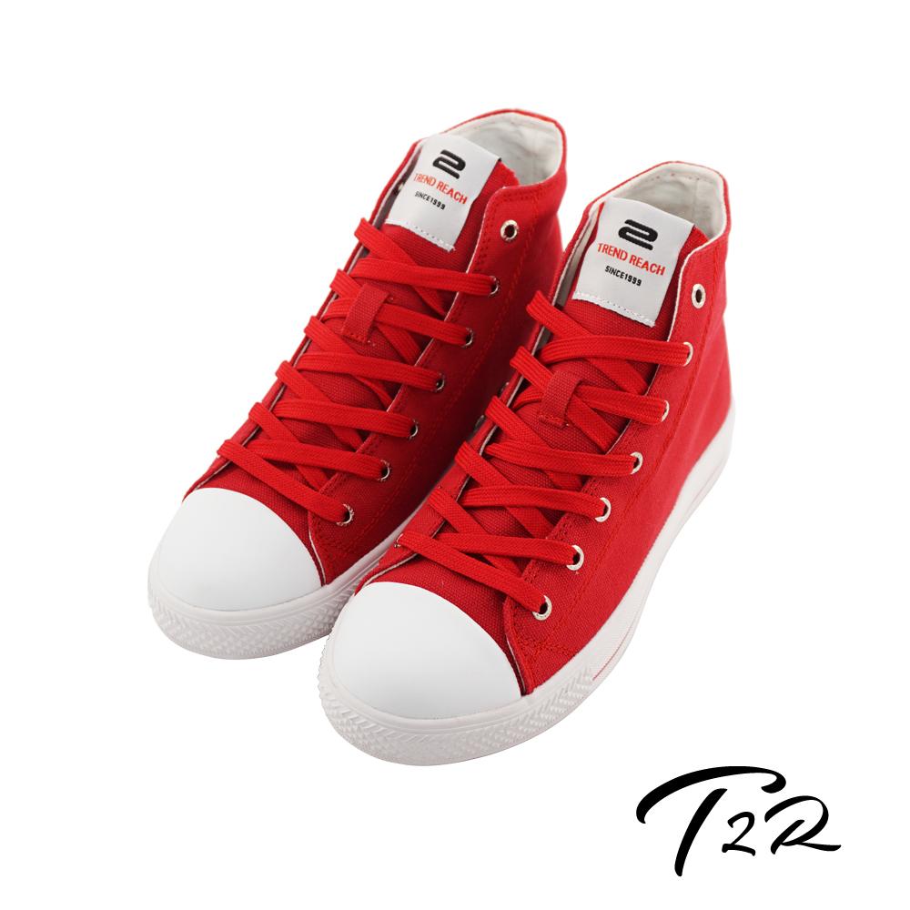 T2R 韓國空運增高7cm經典款休閒氣墊高筒帆布鞋 活力紅