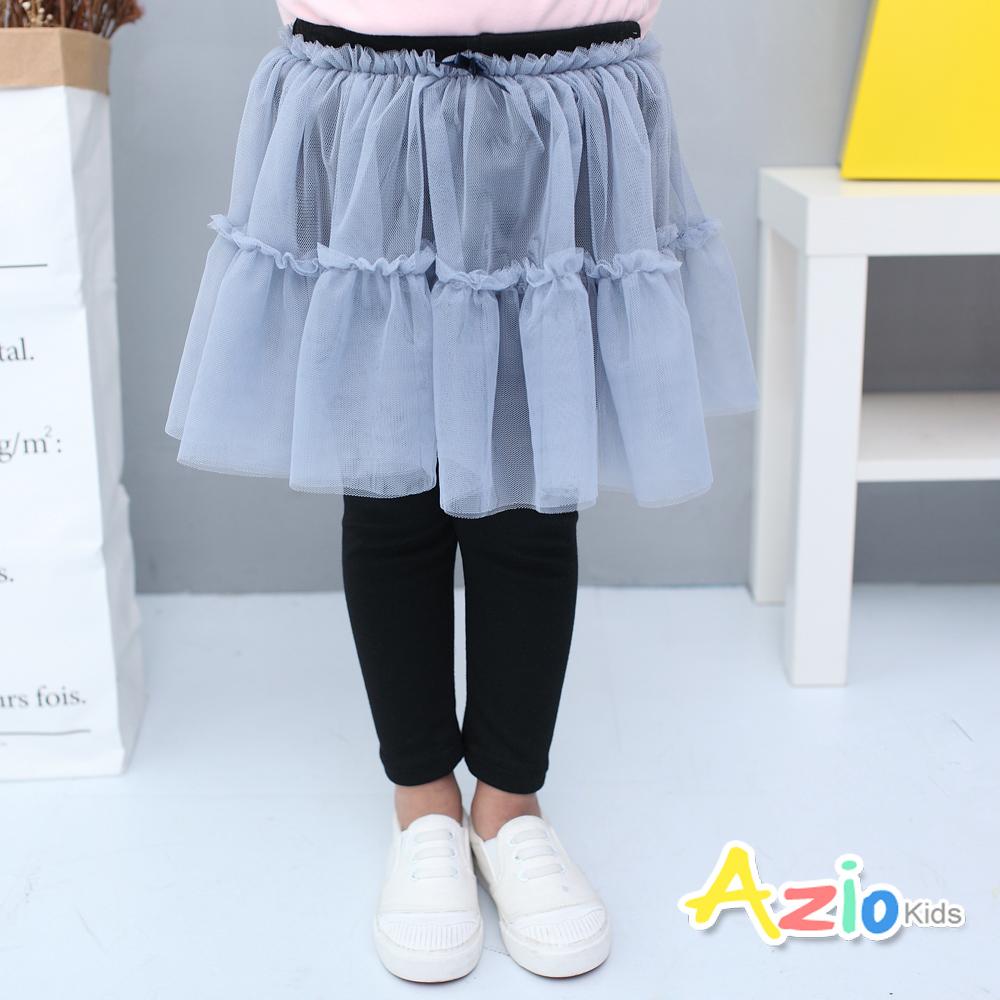 Azio Kids童裝-內搭褲裙蝴蝶結網紗鬆緊內搭褲裙黑