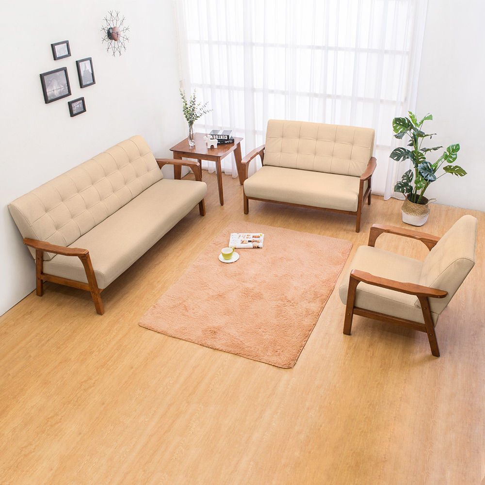 Boden-森克實木貓抓皮沙發椅組合(1人+2人+3人)(柚木色)(四色可選)