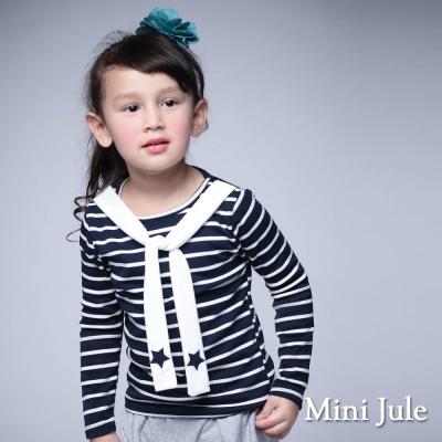 Mini Jule 童裝-上衣 星星綁帶造型條紋長袖T恤(藍)