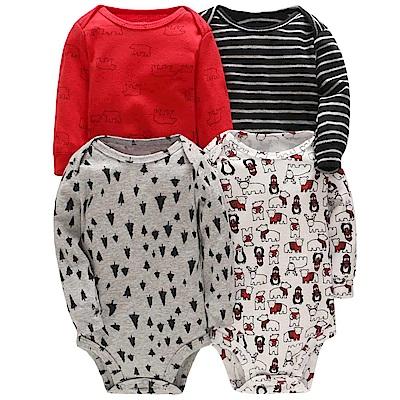 Carters 美國 紅黑北極熊長袖包屁衣4件組