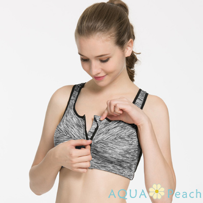 運動內衣 漸層線條前置拉鍊無鋼圈背心 (灰色)-AQUA Peach