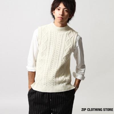 中高領針織背心 ZIP日本男裝