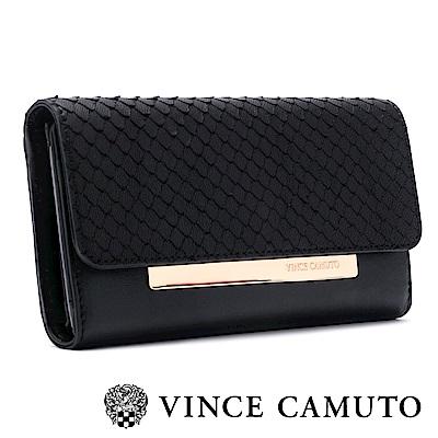 Vince Camuto 魚鱗紋金屬LOGO長夾-黑色