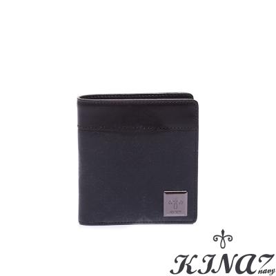 KINAZ-navy-閃耀經典二折式短夾-布萊克系列-特賣品