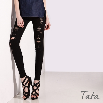 黑色破洞窄管褲-TATA