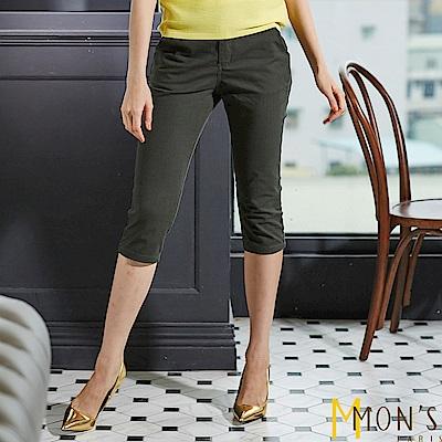 MONS 彈力棉麻窄版七分褲