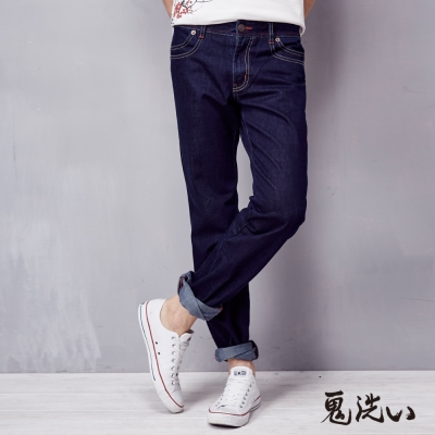 鬼洗 BLUE WAY 口袋反折低腰直筒褲