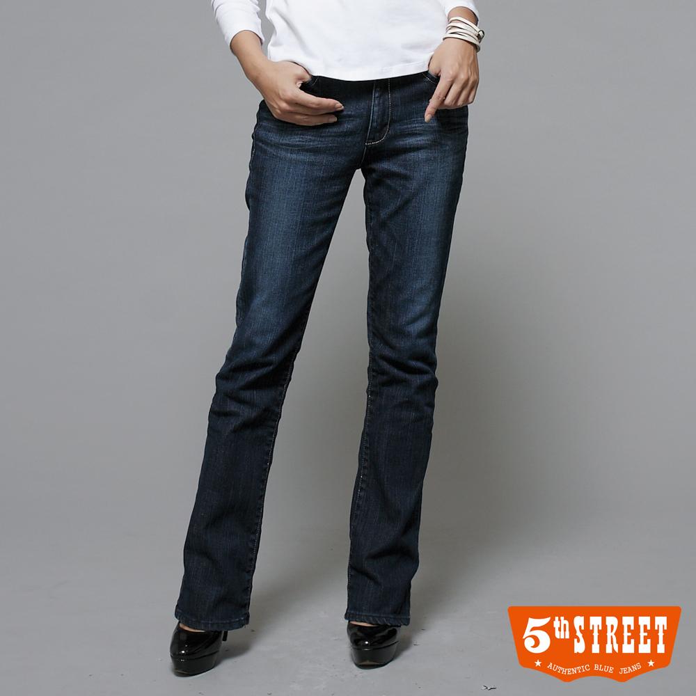 5th STREET 高腰靴型牛仔褲-女-酵洗藍