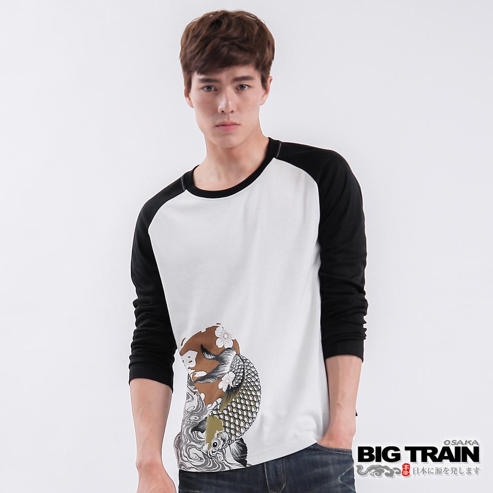 BIG TRAIN  櫻波金鯉印花TEE-男-白色