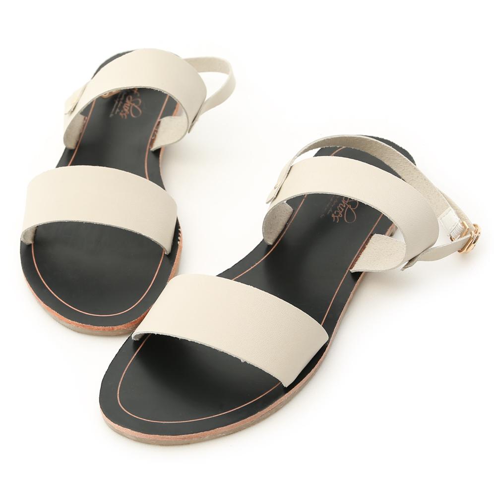 D+AF 涼感愜意.簡約一字線條平底涼鞋*米