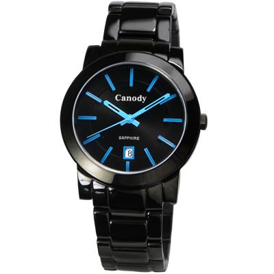 Canody 甜蜜情人日曆時尚中性錶(GVM2585-1B)-黑x藍/37mm