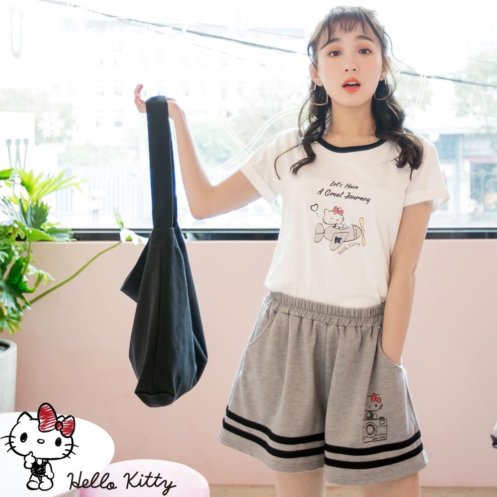 旅行KITTY~高含棉滾邊造型短袖上衣-OB嚴選