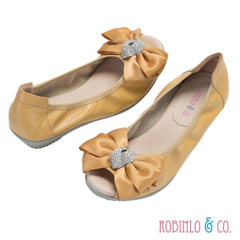 Robinlo&Co. 真皮水鑽魚口楔型跟鞋 黃