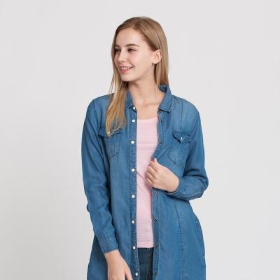 Hang Ten - 女裝 - 天絲丹寧襯衫洋裝 - 藍