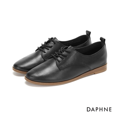 達芙妮DAPHNE 休閒鞋-素面牛皮繫帶平底休閒鞋-黑
