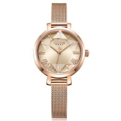 JULIUS聚利時 米蘭風尚立體切割鏡面腕錶-玫瑰金/26mm