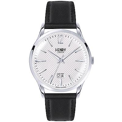 Henry London 英式簡約真皮手錶-銀白X黑/41mm