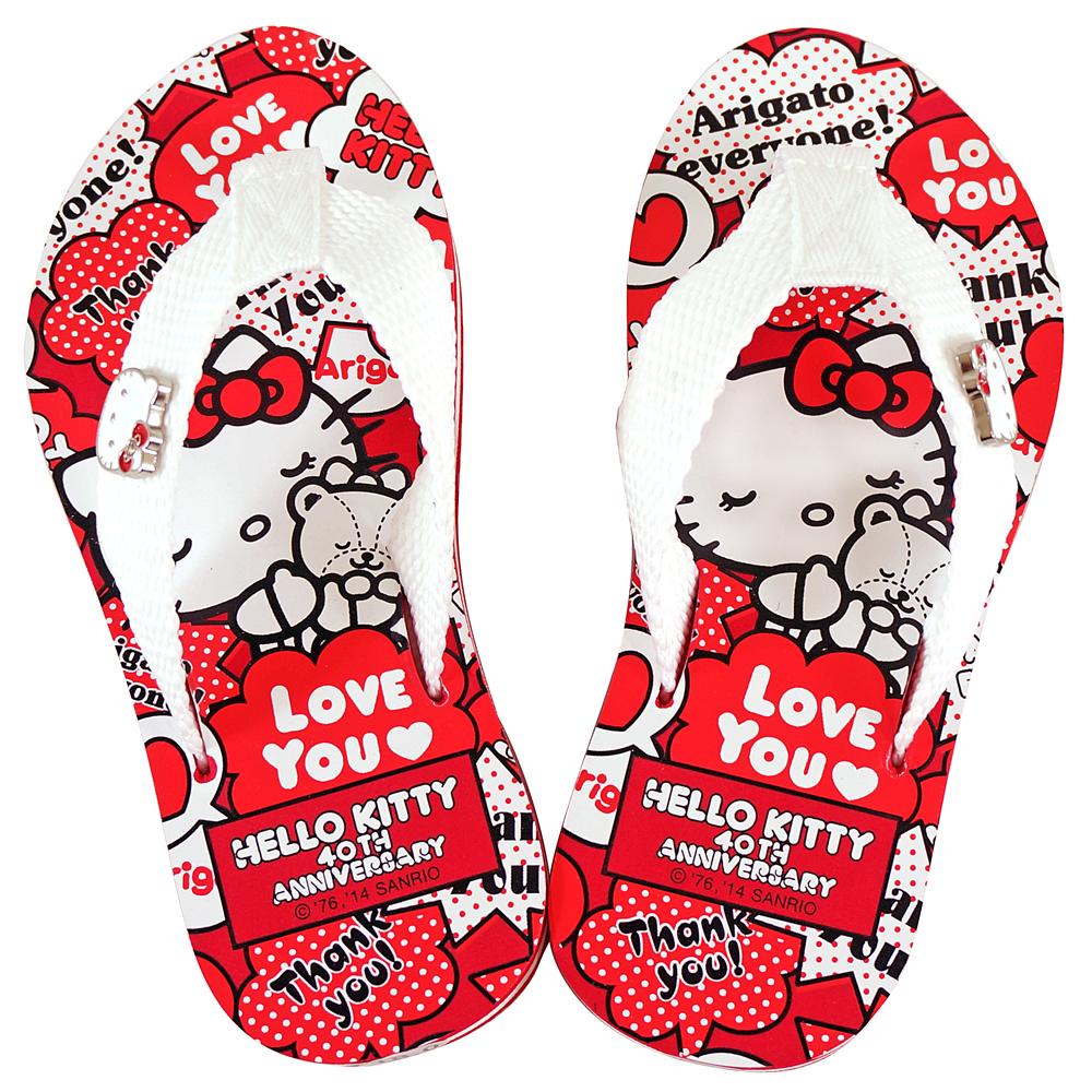 Hello Kitty 40週年期間限定款夾腳拖-白紅(中大童)