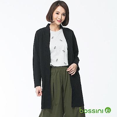 bossini女裝-針織長版開襟衫黑