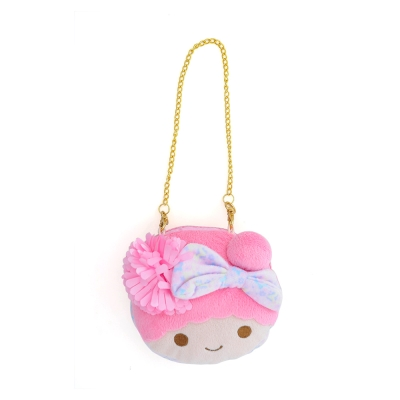 Sanrio-雙星仙子大臉絨毛圓形車票零錢包-夏日