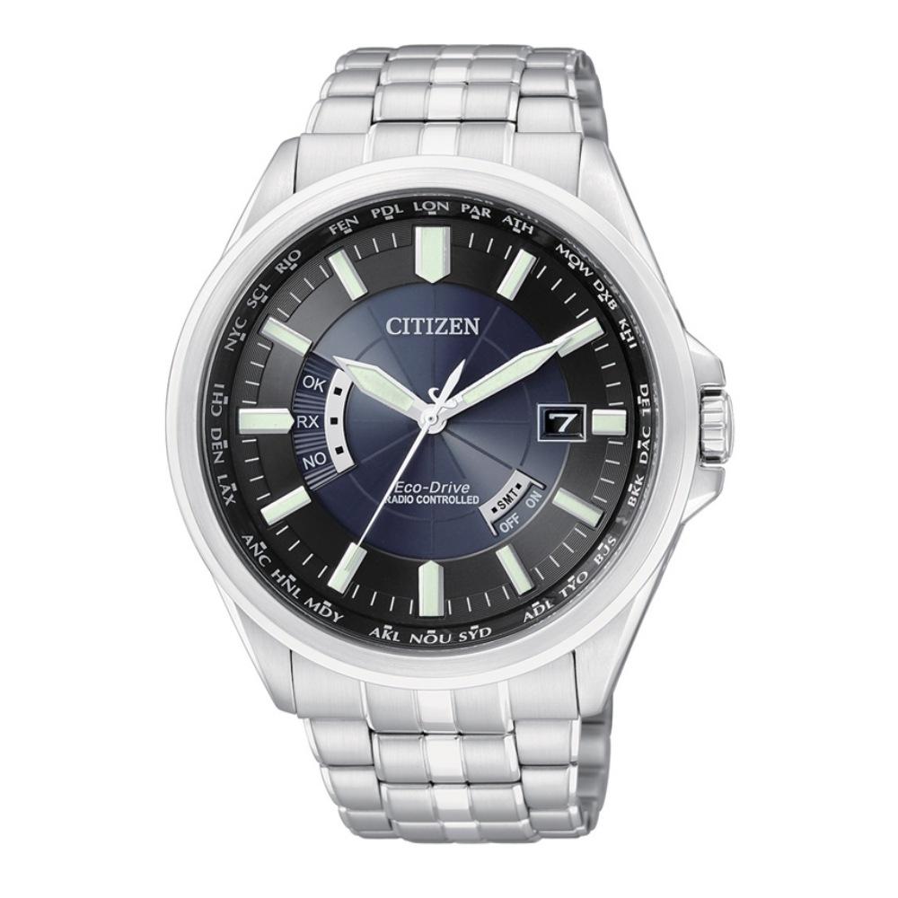 CITIZEN 5局電波世界時間光動能萬年曆錶(CB0011-51L)-黑藍/43mm