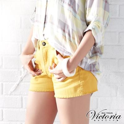 Victoria 天絲棉高腰短褲-女-黃色