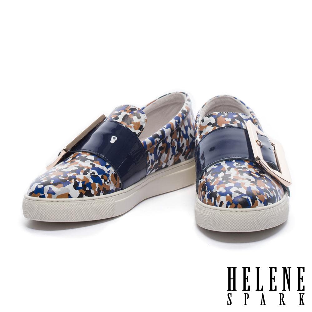 休閒鞋 HELENE SPARK 簡約大型金屬方釦全真皮厚底休閒鞋-藍