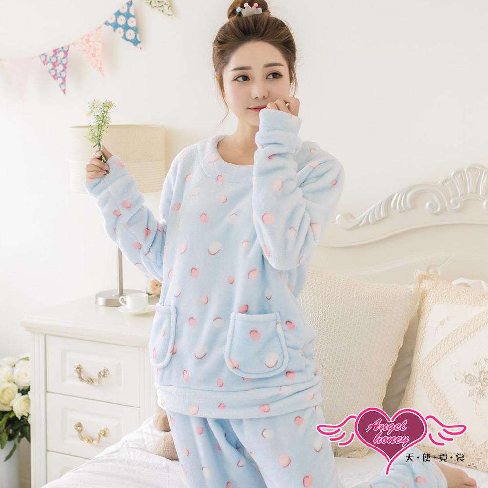 保暖睡衣 溫馨氣泡 法蘭絨二件式長袖居家服(淺藍F) AngelHoney天使霓裳
